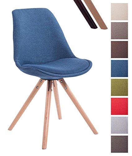 CLP Design Retro-Stuhl Toulouse Rund mit Stoffbezug und Hochwertigem Sitzpolster | Lehnstuhl mit Holzgestell | in Verschiedenen Farben erhältlich