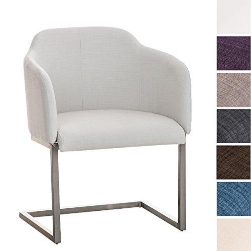 CLP Edelstahl Freischwinger-Stuhl Magnus mit Stoffbezug, Besucherstuhl mit Armlehne, Konferenzstuhl Gepolstert | in Verschiedenen Farben
