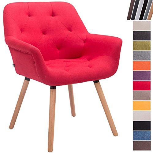 CLP Esszimmerstuhl CASSIDY mit Stoffbezug und sesselförmigem gepolstertem Sitz I Retrostuhl mit Armlehne und einer Sitzhöhe von 45 cm I In verschiedenen Farben erhältlich Rot, Gestellfarbe: Natura (Eiche)