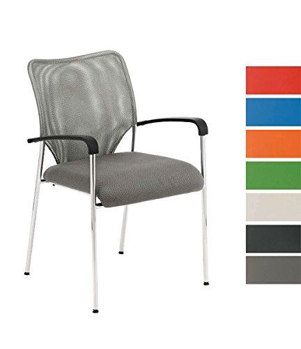 CLP Lehnstuhl Cuba mit Stoffbezug und Hochwertigem Sitzpolster I Konferenzstuhl mit Armlehne und Metallgestell I in Verschiedenen Farben erhältlich