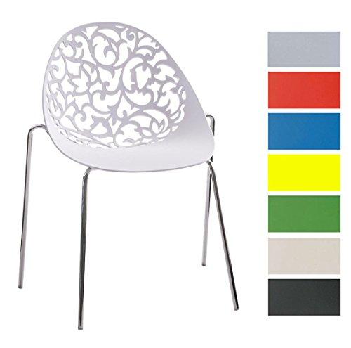 CLP Retrostuhl Faith aus Kunststoff mit stabilem Metallgestell I Stapelbarer Stuhl mit Pflegeleichter Sitzfläche und Einer Sitzhöhe von: 45 cm I in Verschiedenen Farben erhältlich