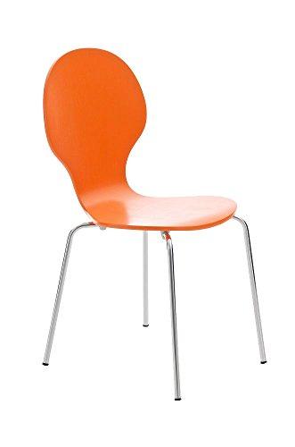 CLP Stapelstuhl DIEGO ergonomisch geformter Konferenzstuhl mit Holzsitz und stabilem Metallgestell I Platzsparender Stuhl mit pflegeleichter Sitzfläche I In verschiedenen Farben erhältlich