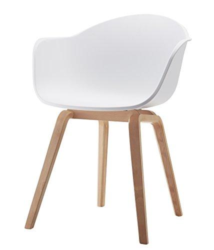 Damiware Romeo Wohnzimmerstuhl Esszimmerstuhl 2er-Set Weiß Polypropylen und Buchenholz Retro Design Stuhl für Büro Lounge Küche Wohnzimmergrey