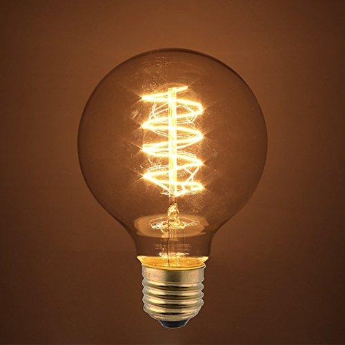 Edison Glühbirne E27, Amzdeal Antike Edison Vintage Glühbirne 40W, 220-240v, G80, warmweiß 2700K, 140 Lumen, für Hängelampe Wandleuchte Pendelleuchte