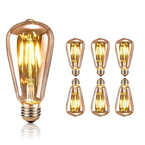 Edison Vintage Glühbirne, tronisky Edison LED Lampe Warmweiß E27 Retro Glühbirne Vintage Antike Glühbirne Ideal für Nostalgie und Retro Beleuchtung im Haus Café Bar usw - 6 Stück
