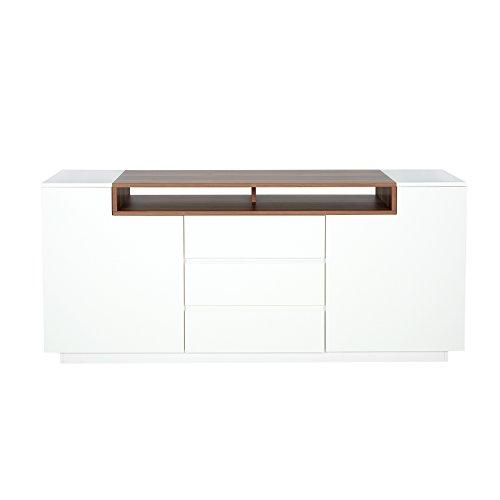 Elegantes Sideboard EMPIRE 180cm edelmatt weiss Echtholzfurnier Walnuss