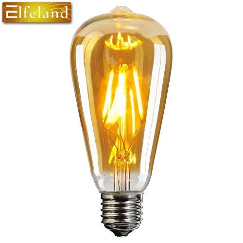 Elfeland Edison LED Globe Glühbirne E27 6W Retro Vintage Industriell Stil Glühbirne Lampe Dimmbar 2200K Squirrel Cage Filament Amber Glas Modell G80 (? 80mm) 3 Pack