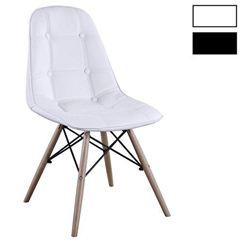 IDIMEX Esszimerstuhl Design Retro Stuhl Polsterstuhl 4er Set Cesar Lederimitat Buchenholz Farbauswahl