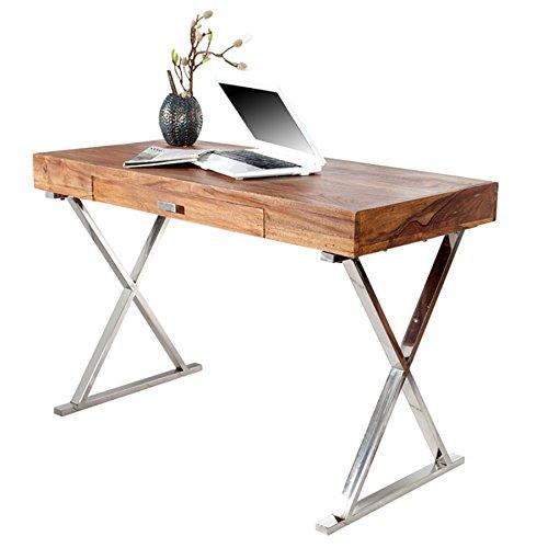 Invicta Interior Design Schreibtisch Grace 120cm Sheesham Stone Finish Tisch Konsolentisch Schminktisch