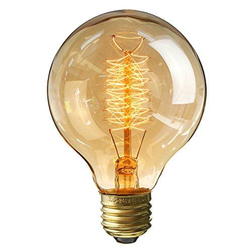 KINGSO Vintage Retro Edison Glühbirne Globe Glühlampe (40W, E27, 220V) Warmweiß Filament Fadenlampe Ideal für Nostalgie und Antik Beleuchtung…