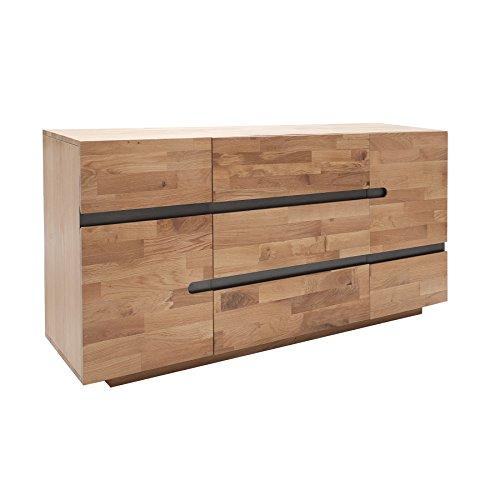 Massives Sideboard WOTAN 170cm Eiche Massivholz keilverzinkte Oberfläche natur geölt
