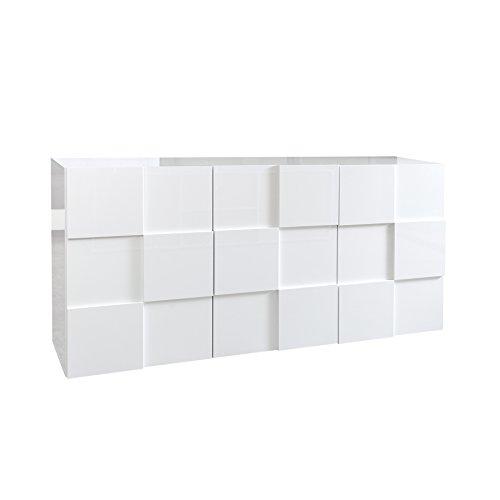 Modernes Sideboard RELIEF 180cm weiß Hochglanz Schrank Kommode Board