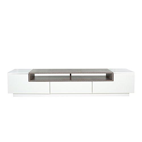 Modernes TV-Board Lowboard EMPIRE 180cm edelmatt weiß Beton-Optik