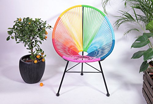 kultliving Retro Acapulco Lounge Relax Sessel Chair Indoor Outdoor Rahmen & Füße Pulverbeschichtet Farbe Bunt