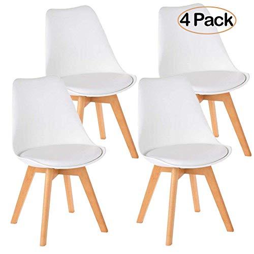 Ambiendi 4er Set Esszimmerstühle Küchenstühle mit Holzbeine Sitzkissen Stühle Holz Weiß