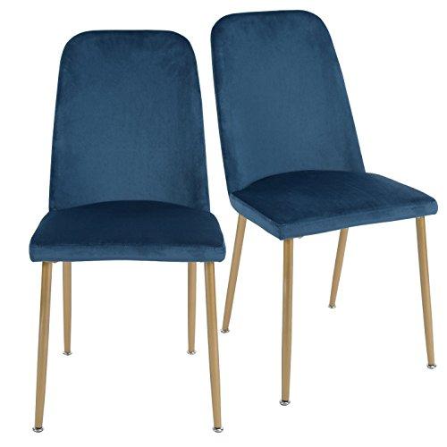EGGREE 2er Set Stühle Samt Esszimmerstühle Retro mit Küchenstühlen Hohe Rückenlehne und Weich Gepolsterter Sitz, Stabilen Metall Beinen, 5 Farben