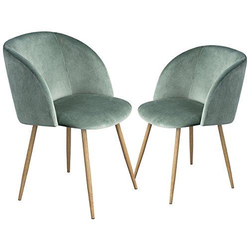EGGREE 2er Set Stühle Samt Vintager Retro Sessel Polstersessel Samt Lounge Sessel Clubsessel Fernsehsessel 4 Farben