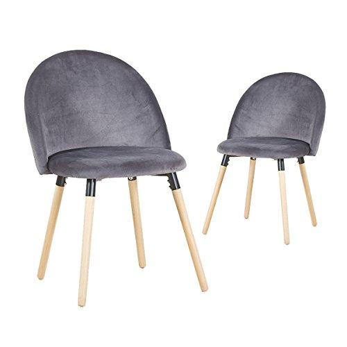 EGGREE 2er Set Vintager Retro Polstersessel Esszimmerstuhl samt stuhl mit Massivholz Bein 3 Farben