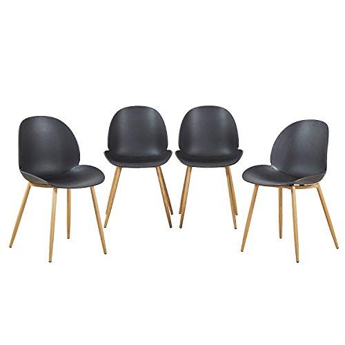 EGGREE 4er Set Esszimmerstühle Skandinavisch mit Ergonomic Stuhlsitz und Starke Metallbeine, Modern Design Stuhl für Büro Küche Wohnzimmer