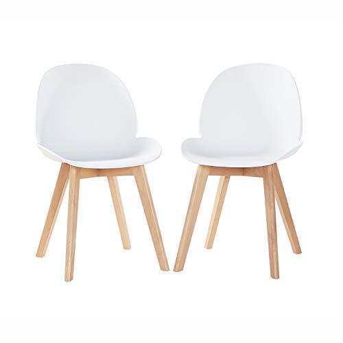 EGGREE Skandinavisch Esszimmerstühle Küchenstuhl mit Sitzfläche aus Modern Design und Buchebeine, Weiß