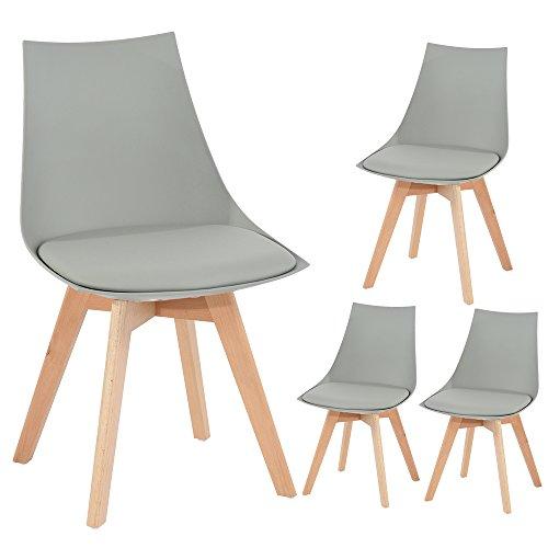 Holz küchen stühle, EGGREE Retro gepolsterter Bürostuhl mit Füßen in massivem Buchenholz und Metallrahmen - weiß