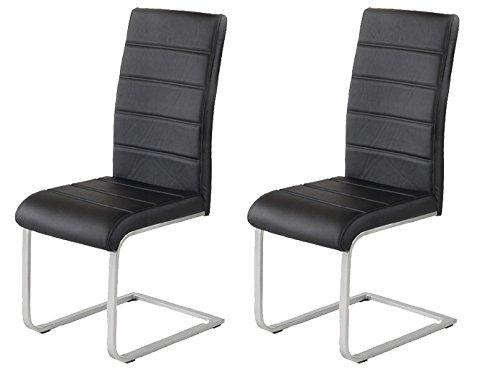 2 x Polsterstuhl Jan Piet ® mit hochwertigem PU Kunstleder schwarz NEU 120 kg belastbar Freischwinger Esszimmerstuhl.