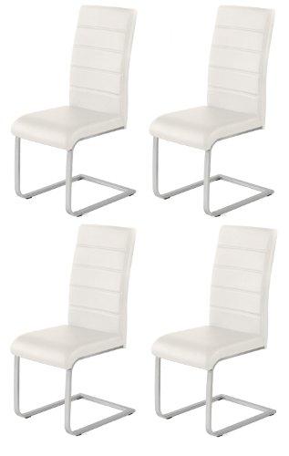 4 x Design Stuhl Freischwinger Piet 32 Kunstleder weiss Esszimmerstuhl