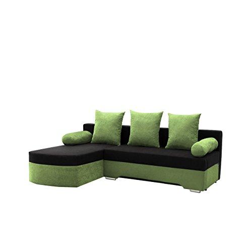 Ecksofa Smart! Sofa Eckcouch Couch! mit Schlaffunktion und Bettkasten! Ottomane Universal, L-Form Couch Schlafsofa Bettsofa Farbauswahl (Alova 42 + Alova 04)