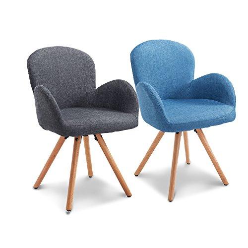Homcom® Esszimmerstuhl Wohnzimmerstuhl Armsessel Sessel Stuhl Küchenstuhl Leinen Holz