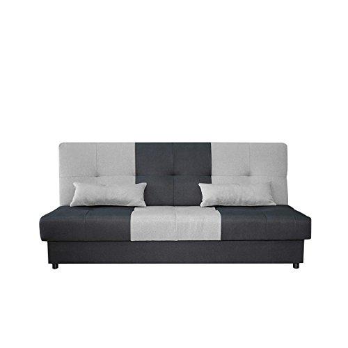 Mirjan24  Schlafsofa Eno 3 Sitzer Sofa, Couch mit Schlaffunktion, mit Bettkasten, Bettsofa Schlafsofa Polstersofa Farbauswahl Couchgarnitur (Luna 96 + Luna 31)
