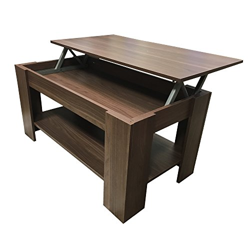Redstone Coffee Table - Black White - Lift Up Top with Storage
