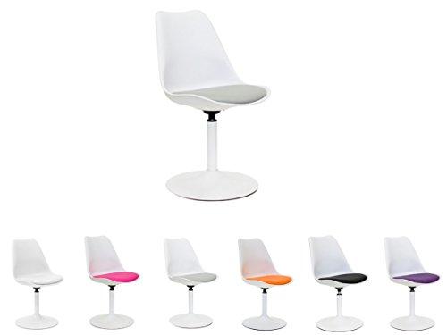 Tenzo 3303-401 Tequila Designer Esszimmerstuhl Viva, Kunststoffschale mit Sitzkissen in Lederoptik, 83 x 49 x 53 cm, weiß