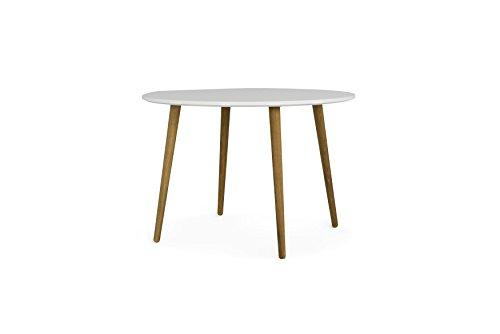 Tenzo Dot 1685-001 Designer Esstisch, Rund, 75 x Ø 110 cm (Hxbxt), Tischplatte : Spanplatte matt. Untergestell Eiche massiv, geölt, Weiss/Eiche, Lackiert