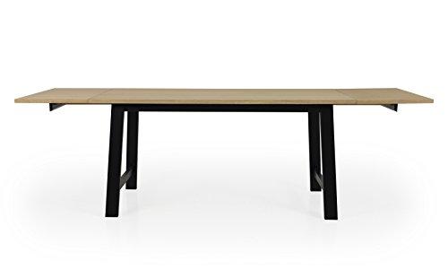 Tenzo Lex 2781-054 Designer Esstisch, Inklusiv 2 Einlegeplatte, 75 x 160-250 x 90 (Hxbxt), Tischplatte Furnierplatte, MDF, Eiche/Schwarz, geölt