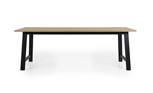 Tenzo Lex 2782-054 Designer Esstisch, 75 x 220 x 90 (Hxbxt), Tischplatte Furnierplatte, MDF, Eiche/Schwarz, geölt