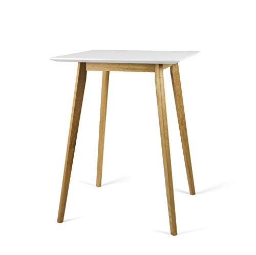 tenzo Bess Designer Bartisch, weiß/Eiche, 80 x 80 x 105 cm
