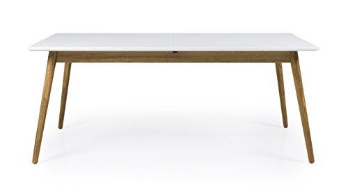 tenzo Dot Designer Ausziehtisch mit Butterflyfunktion, weiß/Eiche, 90 x 180 x 75 cm