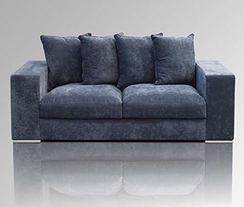 Amaris Elements | 'Cooper' Modernes 3-Sitzer-Sofa Inklusive 5 Kissen, Couch, 100% Mikrofaser, Samtoptik, blau grau - 3er Couch im Landhausstil