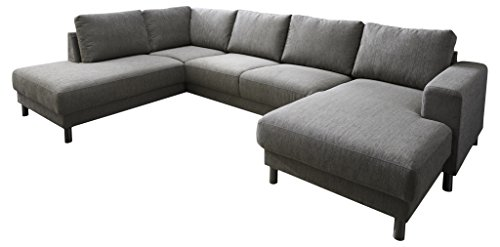 Atlantic Home Collection Wohnlandschaft, Sofa Links, 301 x 200 x 82 cm, Strukturstoff Grau