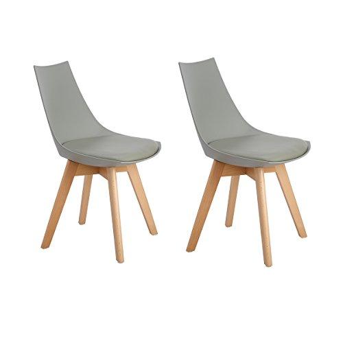 H.J WeDoo 2er Set Retro Designer Stuhl Esszimmerstühle Wohnzimmerstühl mit Bequem Gepolstertem Sitz,Weiß