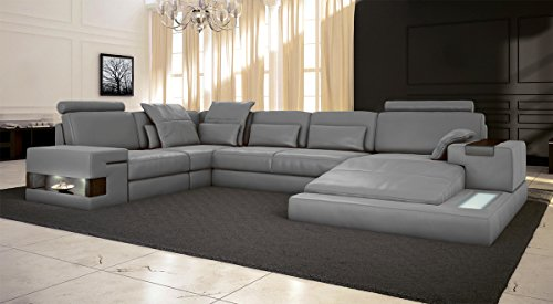 Ledersofa grau Wohnlandschaft Leder Sofa Couch U-Form Ecksofa Ledercouch Eckcouch mit LED-Licht Beleuchtung Designsofa HAMBURG