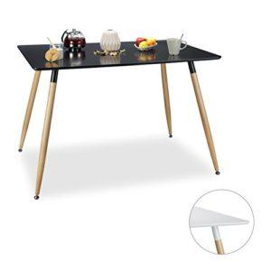 Relaxdays Esstisch ARVID, Holz, rechteckig, HxBxT: 75 x 120 x 80 cm, Beine natur, Gummi Untersetzer, schwarz und weiß