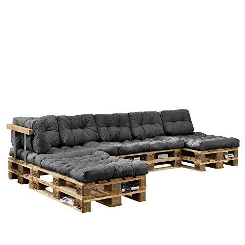 [en.casa] Euro Paletten-Sofa - DIY Möbel - Indoor Sofa mit Paletten-Kissen / Ideal für Wohnzimmer - Wintergarten (4 x Sitzauflage und 6 x Rückenkissen) Grau