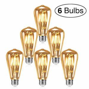 Edison LED Glühbirne, isimsus Retro Glühbirne Warmweiß E27 Antike Glühbirne 40W Vintage Edison Glühbirne LED Filament Dekorative Glühbirne Ideal für Nostalgie und Retro Beleuchtung - 6 Stück