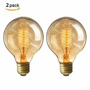 KINGSO 2X Edison Glühbirne E27 Retro Globe Glühlampe 40W G80 Vintage birne dimmbar Filament Fadenlampe Ideal für Nostalgie und Antik Beleuchtung Warmweiß