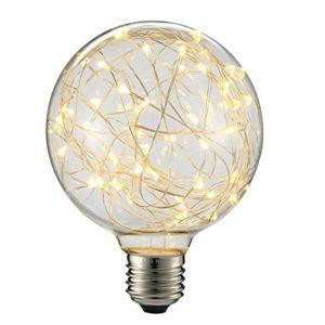 KINGSO LED Edison Lampe G95 Globe Vintage Glühbirne Innen bunte Lichterkette (3W, E27, 85-265V) Ideal für Nostalgie und Antik Beleuchtung