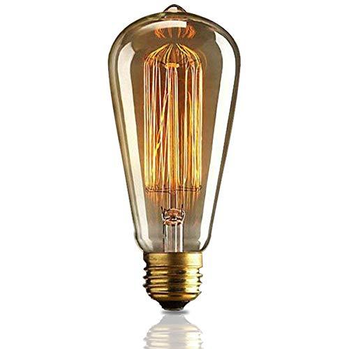 KJLARS Vintage Edison Glühbirne Glühlampe E27 60W ST64 Filament Fadenlampe Für Nostalgie Retro Industry Style Leuchtmittel