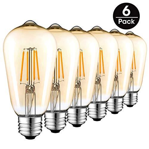 Vintage Edison LED Glühbirne, E27 Weinlese Antike Art 2700K Warmes Weiß ST64 Retro Filament Lampe, Goldfarbe [Energieklasse A++]