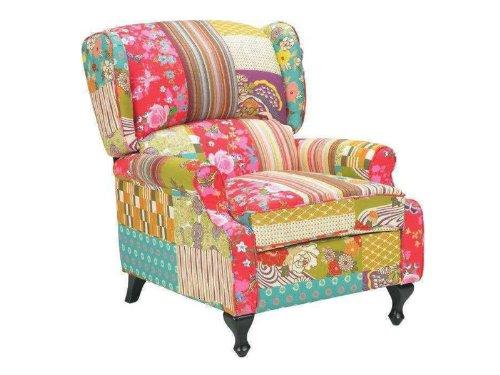 BHP Patchwork Sitz Bank Textil Möbel Bank Mobiliar Stoff Holz Stuhl Sitz Sessel Mehrfarbig B412252