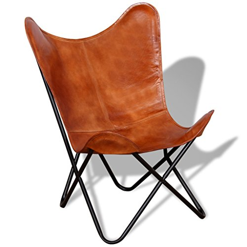 Festnight Retro Butterfly Sessel Echtlederbezug Ergonomische Sessel Loungesessel Relaxsessel 74 x 66 x 90 cm Braun